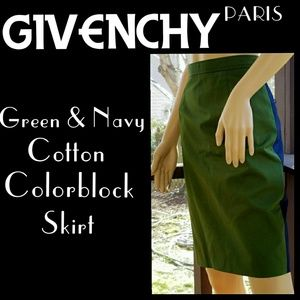 ▪GIVENCHY▪Navy & Green Cotton Colorblock Skirt